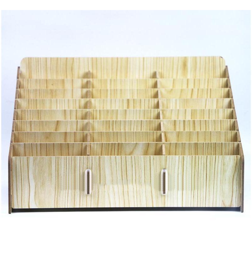 Scatola di immagazzinaggio in legno creativo ufficio desktop riunione riunione di finitura griglia multi cellulare rack shop display organizer mobil jllzih fortunato2005
