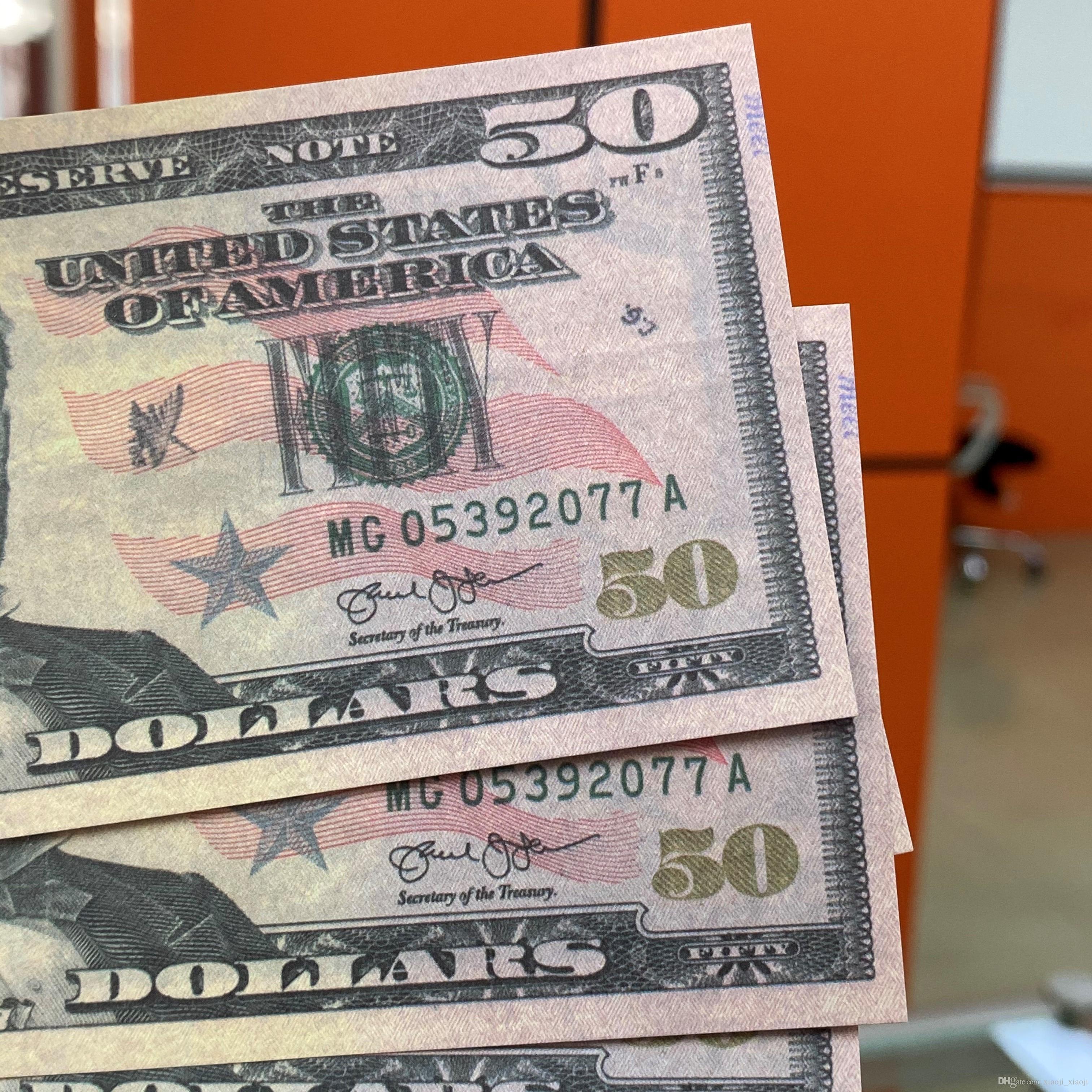 Деньги Игрушки Деньги Деньги Считать для фильма 50 Доллар Образование США Бумага притворяется ОПТ Биллс Деньги поддельные Обучения 08 FBXNX