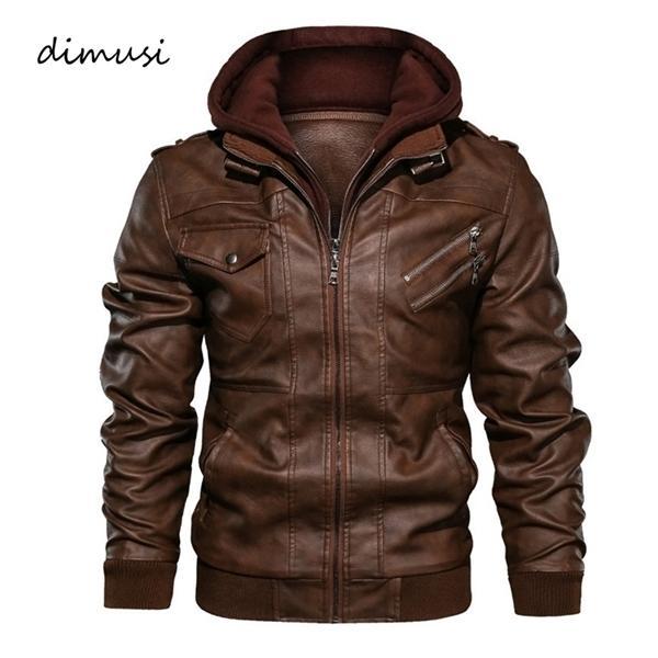 Couro jaquetas masculinas de inverno DIMUSI Casual Leather Motorcycle Man capuz Coats comercial masculino PU Biker Leather Jackets Roupa C1021