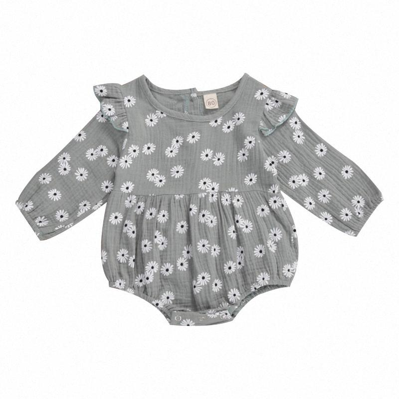 0-18M Newborn Baby Daisy Romper Cotton Linen Clothes Ruffle Long Sleeve Jumpsuit Playsuit Soft Infant Summer Clothes onnr#