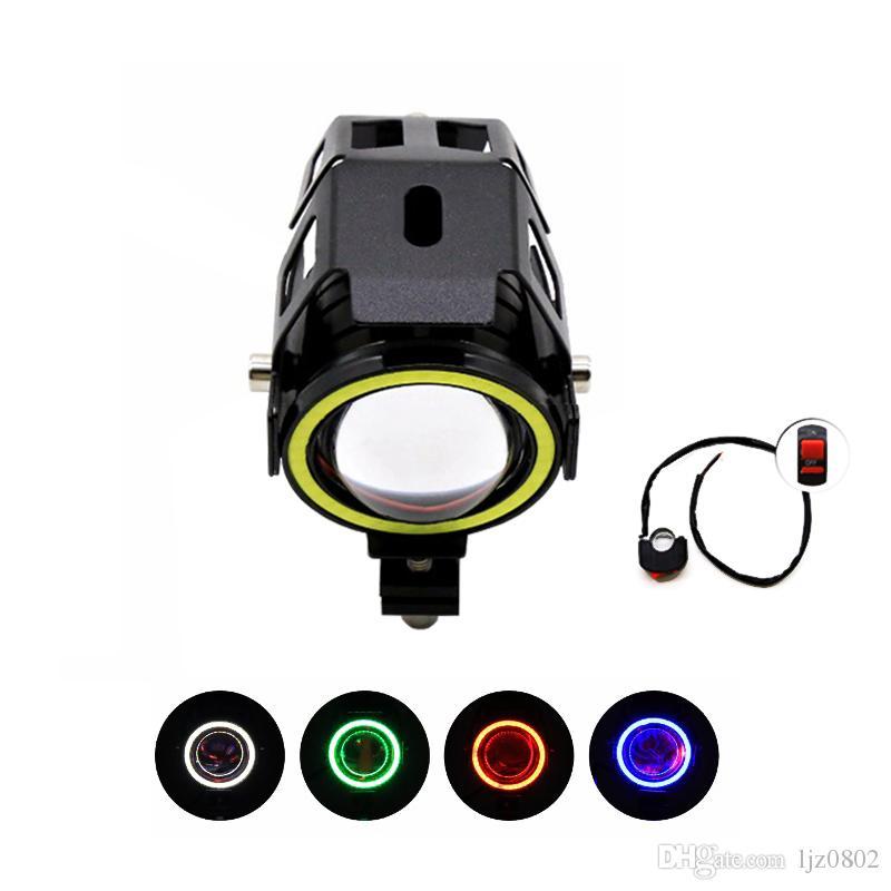 Guangzhou U7 Angel Eyes Motorcycle Fog Light LED Motorcycle 60W Car Lights Kit Motorcycles Spotlight with Wiring