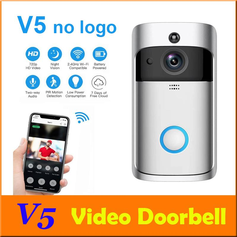 WIFI-Video-Türklingel V5 Smart Home Türglocke Glocke 720P HD-Kamera Echtzeit-Video-Zwei-Wege-Audio-Nachtsicht PIR-Bewegungserkennung DHL 10pcs