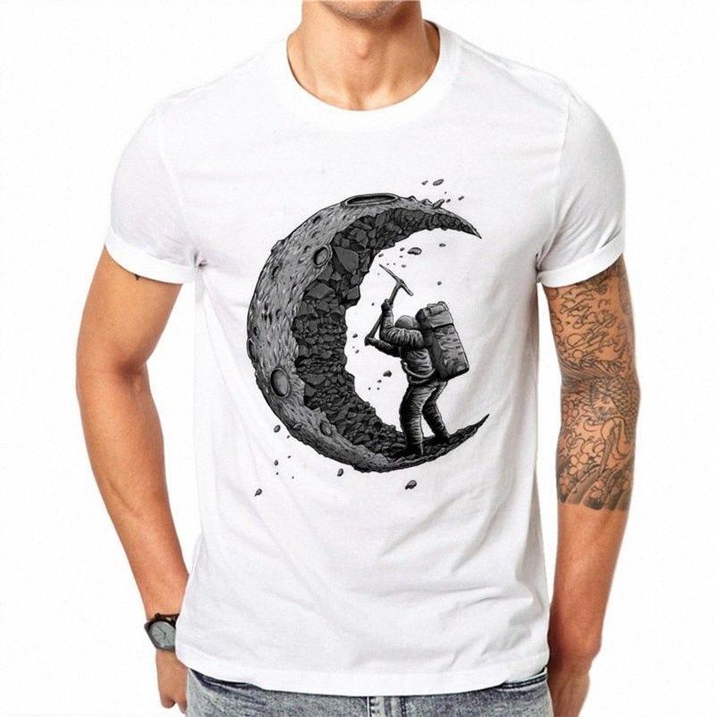 Мужчины Футболки Хлопок Копаем Луна Печать Tops Casual O-образным вырезом футболки Мужская мода с коротким рукавом Streetwear meoA #