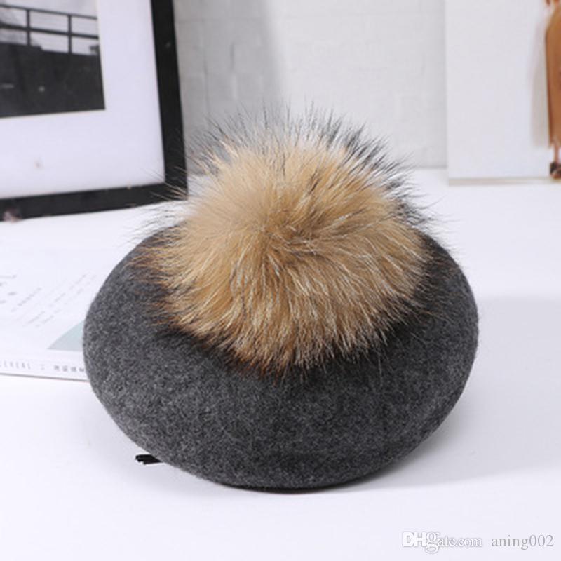 En iyi Visrover Yeni Unisex 100% Yün Kış Bere Katı Kürk Ponpon Sonbahar Şapka Kış Kap İlkbahar Punk Bere Şapka Gerçek Kürk Bere Toptan