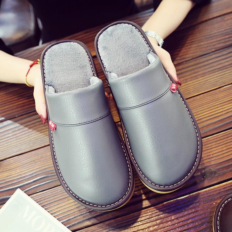 Ev terlik kadın için pu deri kadın terlik yumuşak kısa peluş kapalı terlik özlü tasarım ev ayakkabı 201125