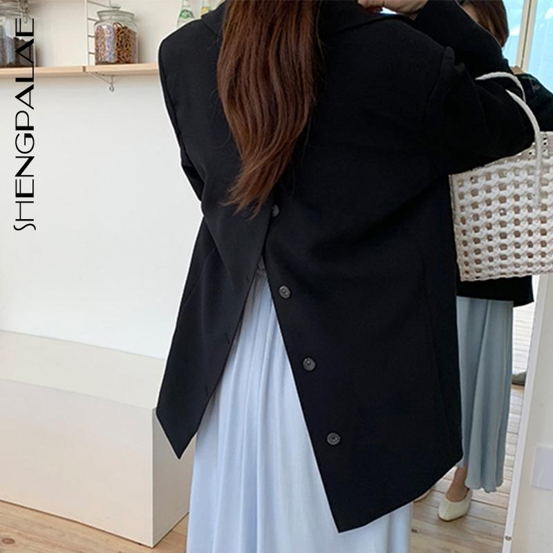 Shengpalae nuevo otoño mujeres blazers y chaquetas trabajo oficina señora traje delgado negocio diseñado back button button abrigo ZA5728 Y201026