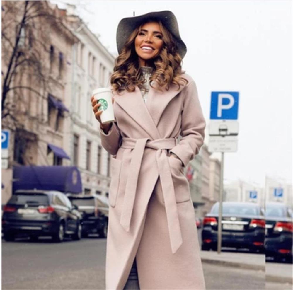 Hot élégant manteau long Femmes 2 poches Lapel Belted Vestes couleur unie Femme d'extérieur Manteaux simple boutonnage