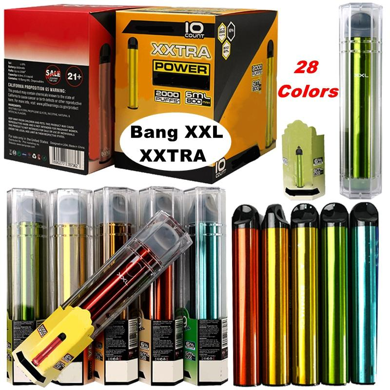 Bang XXL XXTRA 2000Puffs Descartáveis Vape Starter Kit 6ML Carrinhos 800mAh Bateria Atualizada Bar Bar E Cigarros Vazes Vaes Caneta Caixa De Dispositivo Embalagem
