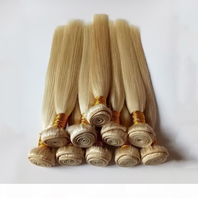Индийские девственницы человеческие волосы утомки белокурые мягкие и гладкие малайзийские перуанские реми волосы 8- 26 дюймов моды женские человеческие волосы ткани # 613