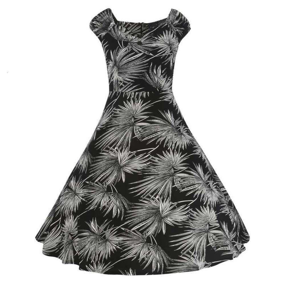 Vestido de mujeres Hepburn V-cuello con botón de manga corta Punto de onda de la cintura Falda de oscilación grande FD3433A