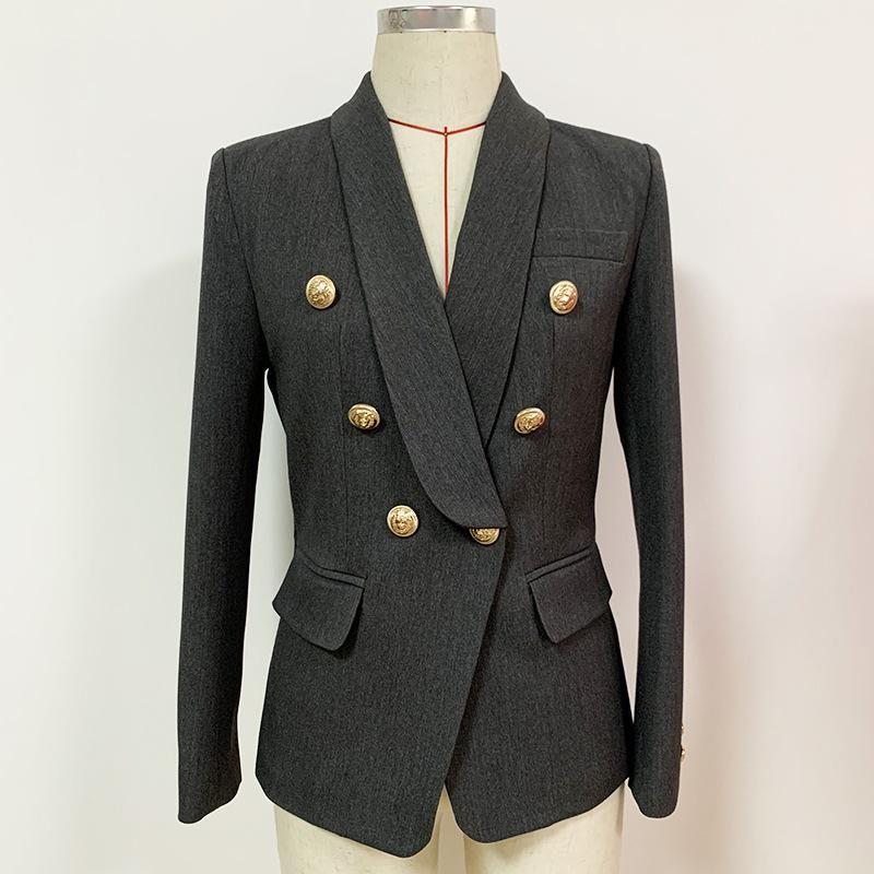 Frauenanzüge Blazer Luxus Blazer für Frauenjacke Klassische Gold Doppelbrauer graue Schalkragen und Jacken Hohe Qualität 2021