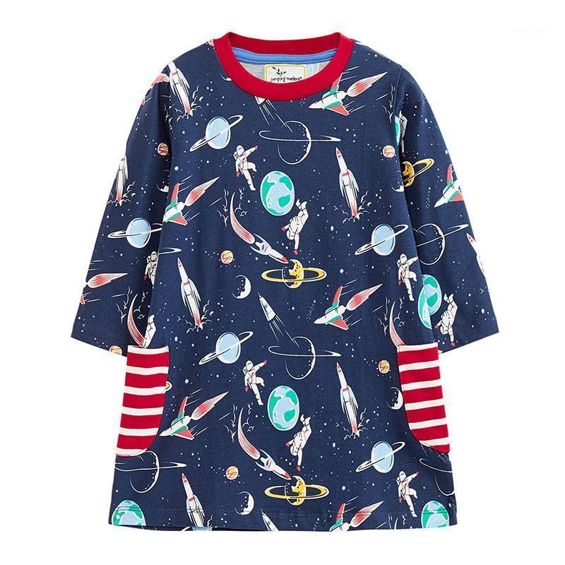 Prinzessin Baby Mädchen Kleider Baumwolle Langarm Space Kinder Herbst Frühlingskleidung mit Taschen Kostüm Kleider für Mädchen Party1