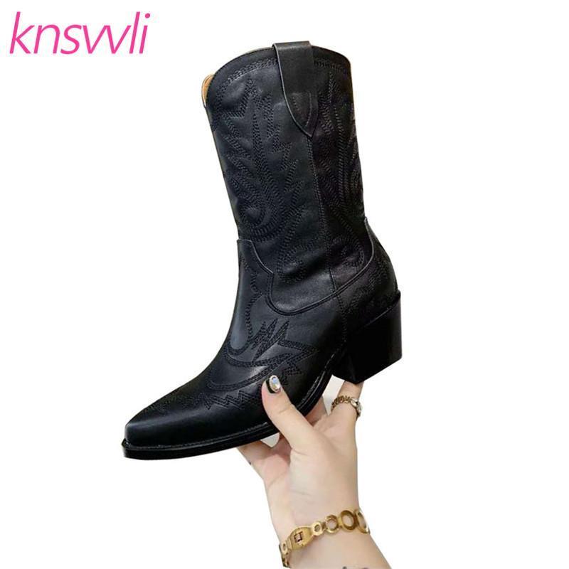 Toe Pointy ocidental da vaqueira Botas Mulheres Bordados Couro Meia-perna Botas Designer Marca Calçados Mulher Chunky Heel Zapatillas Mujer