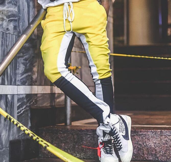 Pantalones de niebla Streetwear Streetwear Pantalones para hombre Pantalones laterales y emparejamiento Cremallera con cremallera de color de primavera Miedo a Dios otoño Wcuvg