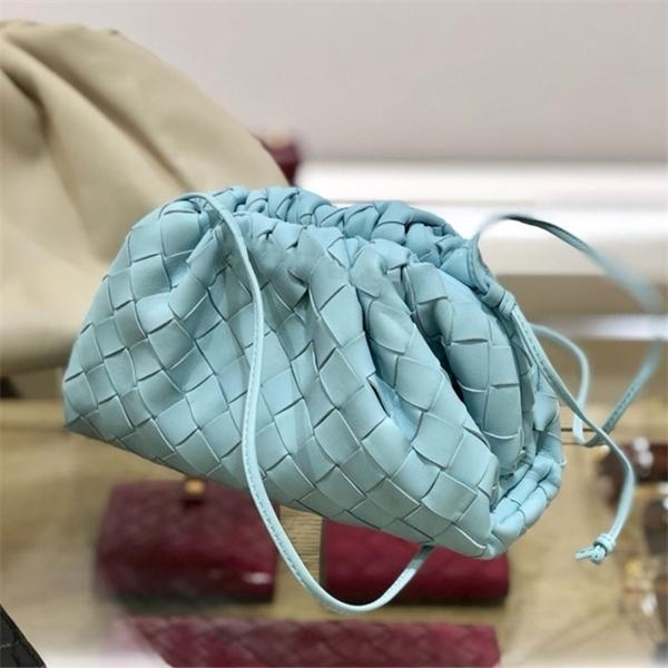 New genuine weave cloud ladies fashion clutch hand soft leather dumpling hobo shoulder bag purse C0507