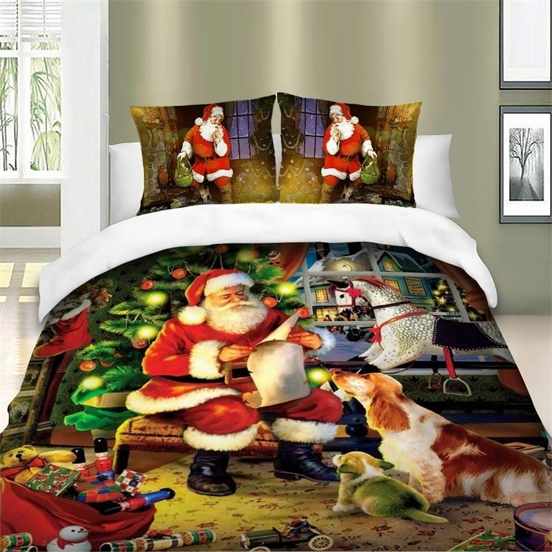 Christmas Series Santa Claus Xmas HD Printing Duvet / Quilt Cover Set Bed Linens Queen King Twin Bedding Set For Children Adults 201210