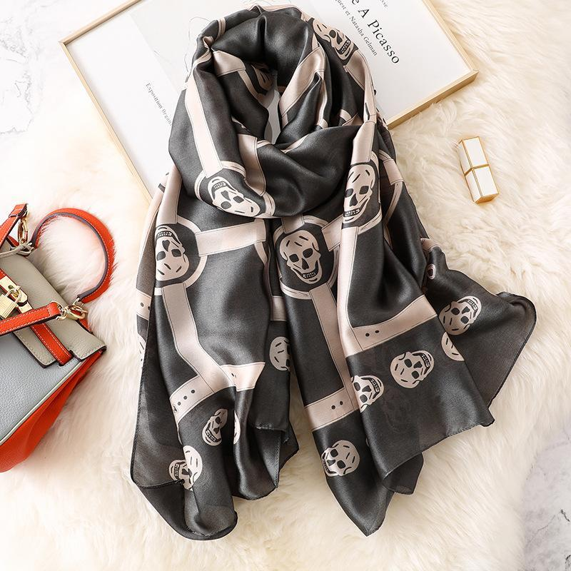 Soft Designer Skeleton Schädel-Seidenschal Weiseluxuxfrauen Punk-Art-lange Silk Schals Damen Marke Hijab Foulard New
