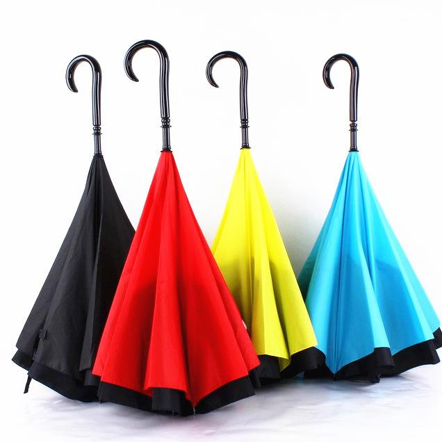 Double Layer Pongee Waterproof Reverse Folding Umbrella Creative Foldable C-type Sun Protection Portable Umbrella SEA SHIPPING