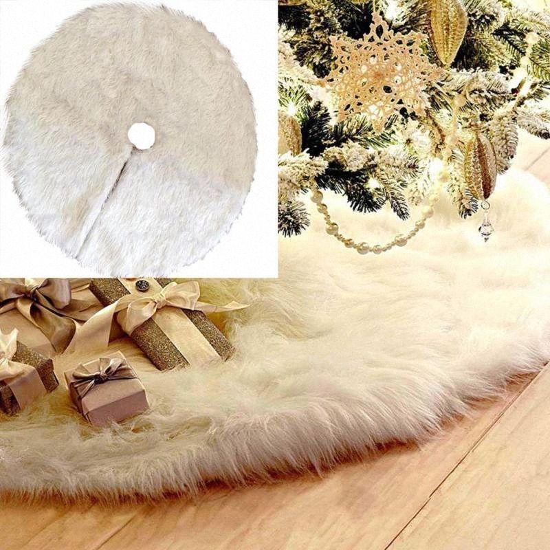 Arbre blanc en peluche Pelage Noël Jupe Tapis Décoration de Noël pour la maison Nouvel An Décor de partie d'arbre jupe ornements 3 IIES #