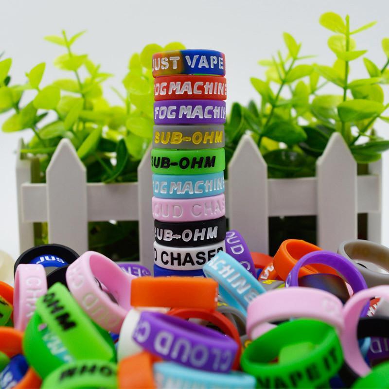 Lettera di rotocalco anelli vape banda borsa in silicone Cover Colorful Benvenuto OEM Logo Custome adatto per serbatoio da 21-28mm o mod 23 * 7 * 1.5mm