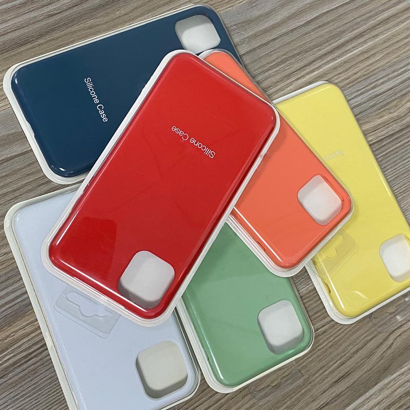 Fullt omslag Officiellt flytande Solid Silikon gelhölje för iPhone 12 Mini 12 Pro Max 250pcs / Lot Blisterpaket