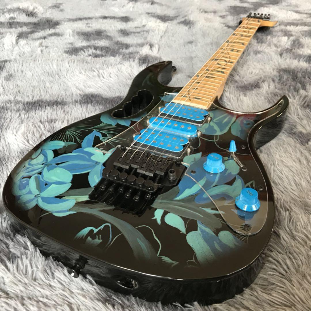 2020 Özel Ibans Grand Jem-77 Steve V Işareti Çiçek Desen Handpainted Serisi Elektro Gitar Mavi