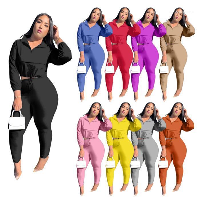 Топы и повседневные брюки осень зима сплошной цвет женщин 2pcs Outfit Zipper Два Брюки Часть женщин с длинным рукавом нагрудные шеи