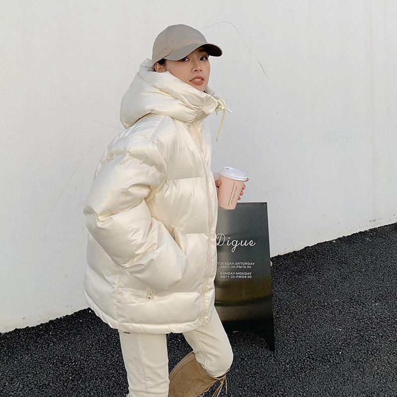 여성용 다운 파카 밝은 빵 자켓 여성 겨울 한국 느슨한 면화 패딩