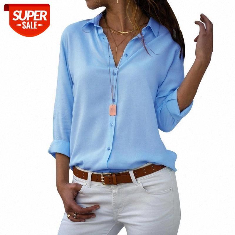 Frauen Tops Blusen 2020 Herbst Elegante Langarm Solide V-Ausschnitt Chiffon Bluse Weibliche Arbeitskleidung Hemden Plus Größe # G80Q