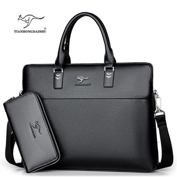 TIANHONGDAISHU Men Casual Briefcase Business Shoulder Leather Messenger Computer Laptop Handbag Men's Travel Bags handbags Q0112