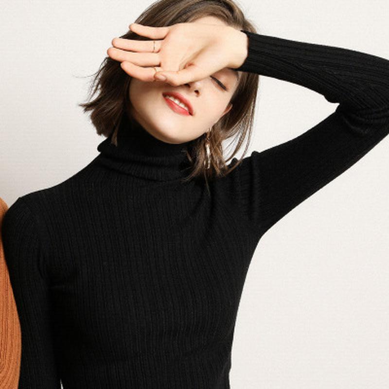 Cuello alto que basa la camisa de las mujeres 2020 nuevos otoño e invierno el desgaste de punto delgado suéter rayado Todo-fósforo
