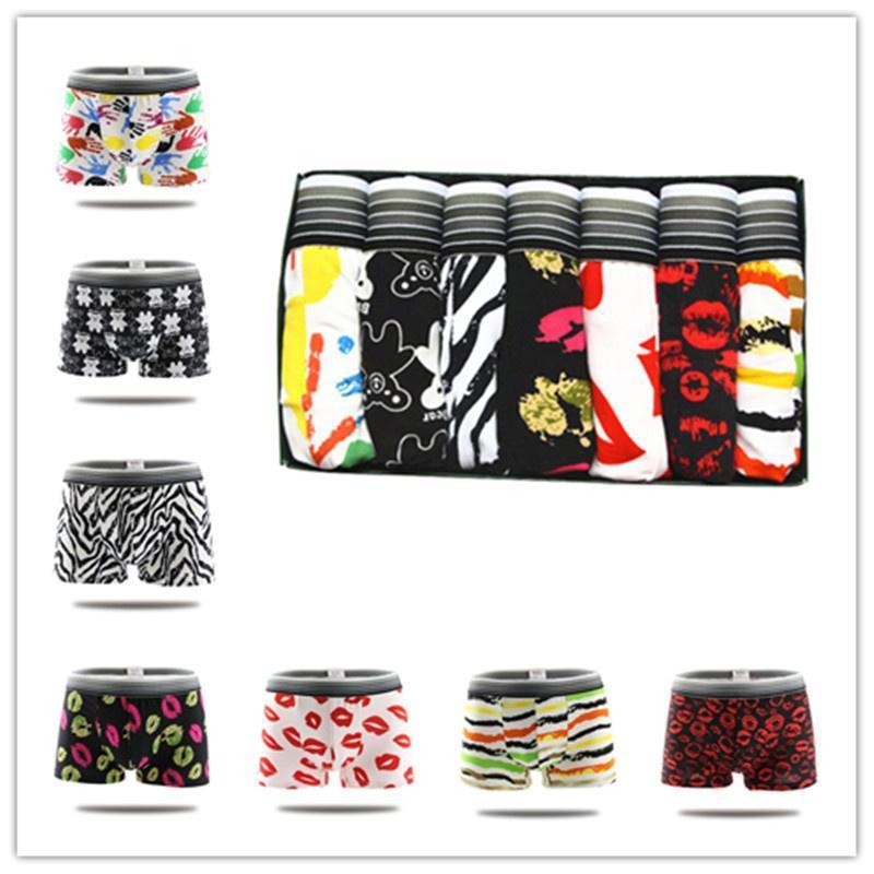 7pcs / lot di marca sexy biancheria intima degli uomini dei pugili Shorts Colorful traspirante interni Homme mutande