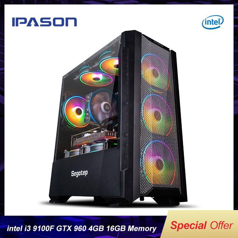 IPASON 4-CORE I3 9100F / GTX960 4G Bureau de bureau 240g SSD 16G RAM ASSEMBLAGE DE DIY LOL / PUBG GAMING HAUTE PERFORMANCE DIY PC PC