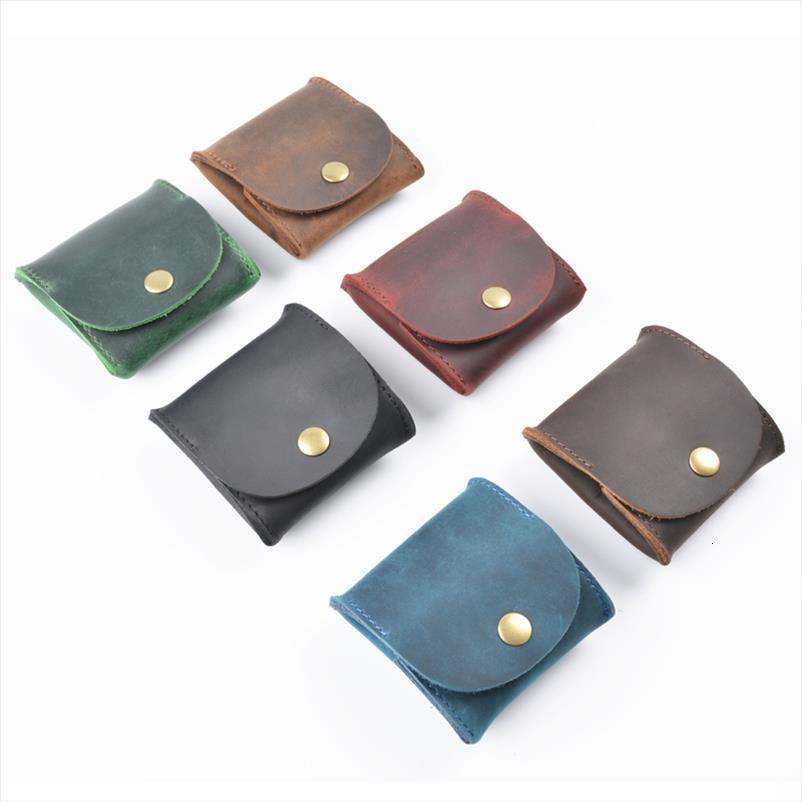 Venta corta de cuero genuino vintage embrague bolso bolso monedero hot casual alto nuevo mini hombres soporte calidad creativo desiger billeteras IIAV