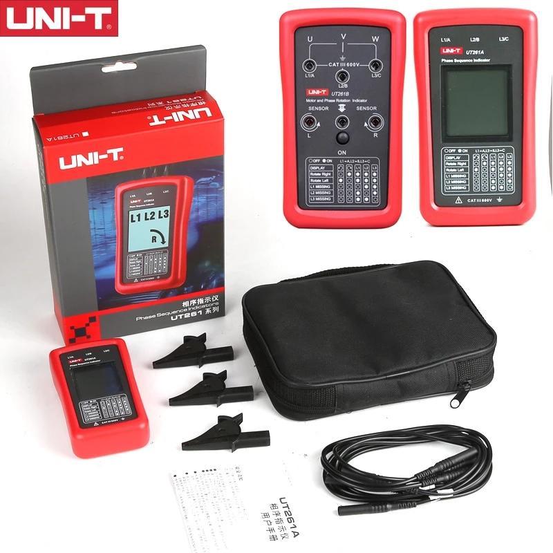 UNI-T UT261B UT261A 3-фазовая последовательность индикатора последовательности и двигатель рулевая передача фазовой последовательности Индикация двигателя Удостовения рулевого управления