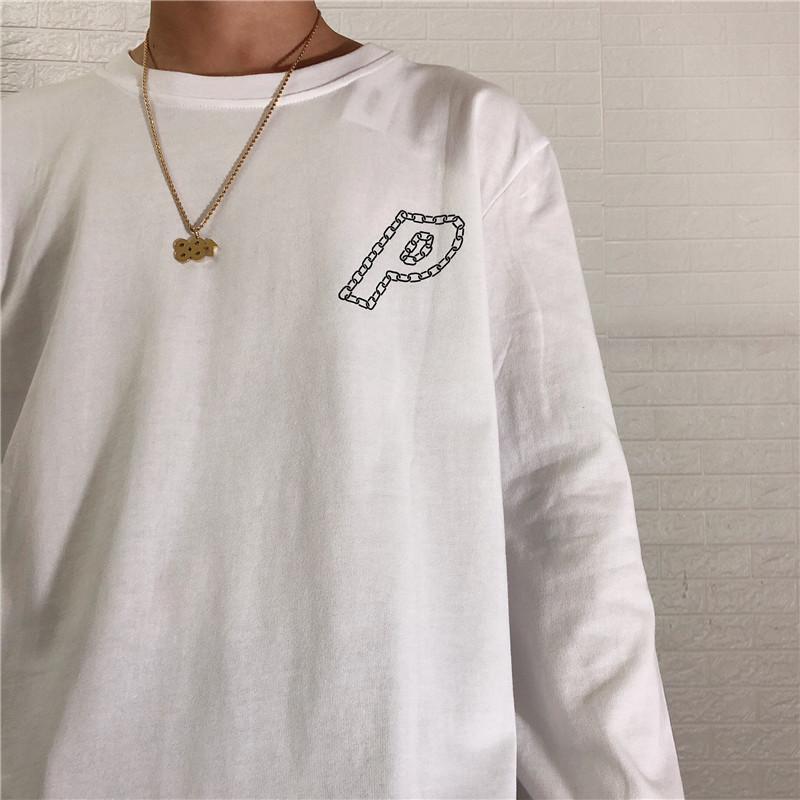 Fer et en t-shirt Femmes minces longues pour des hommes en automne Hommes occasionnels P-imprimer la chaîne hiver kvxex