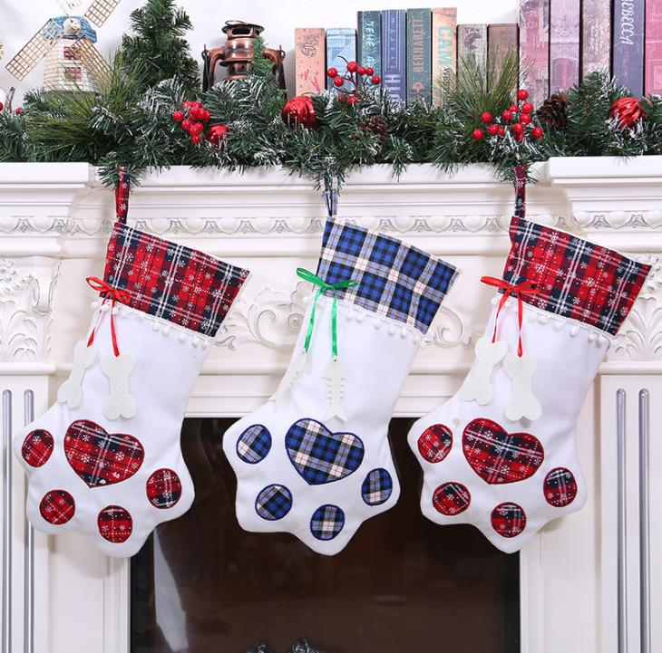 La dernière taille 45cm, chaussettes de Noël, les styles de patte de chat animal de compagnie, décorations de Noël, décorations d'arbre de Noël, la livraison gratuite