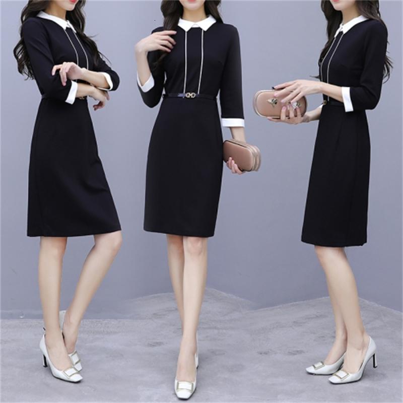 Vestido en trozos para las mujeres Peter Pan Collar Ladies'Dresses de cintas de vestir coreano Dama de la oficina como un novio Fiesta VR68
