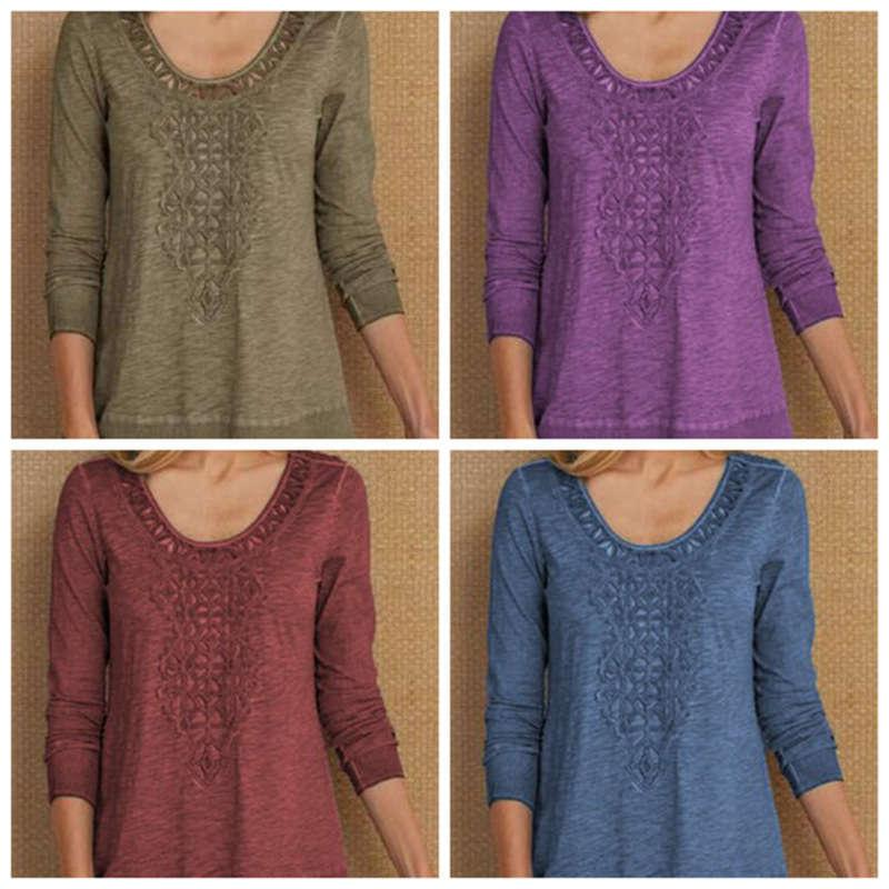 Spring 2019 new Crochet hollowed out Pullover long sleeve T-shirt for women