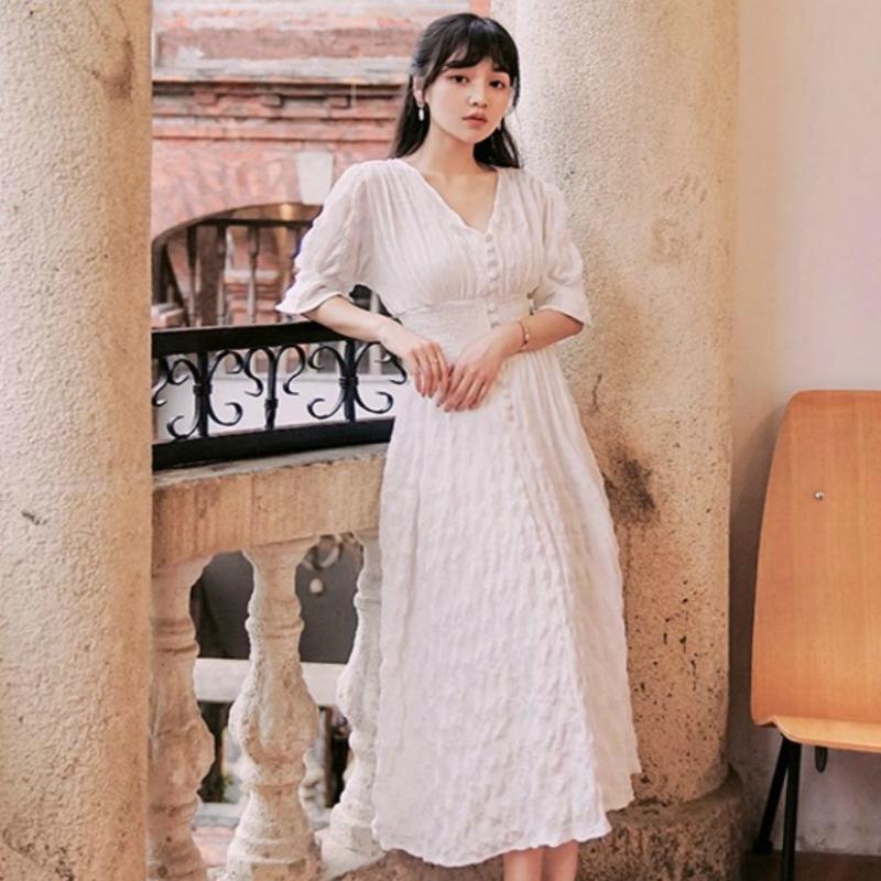 Весна и лето 2020 Французский стиль ретро вскользь Ямамото Супер Фея колено платье отдыха Minority Platycodon длинное платье белого Fairy Sk