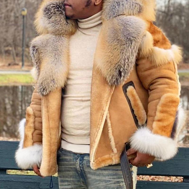 Erkekler Mont Yeni Kalın Moda Faux Kış Süet Için Sıcak Büyük Fermuar Kürk Yaka Uzun Kollu Ceket Açık Rahat Palto Tops