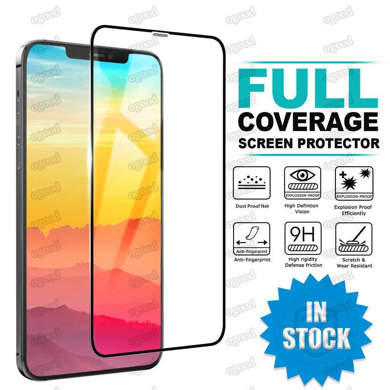 Plein couverture Verre trempé pour iPhone 12 Mini Pro Max Screen Screen Protector pour iPhone SE 2020 XR 11 XS 8 Plus Samsung A51 A21 A10E