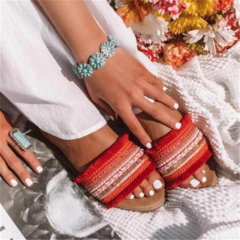 Cootelili мода женщины тапочки открытый летние тапочки женские плоские туфли кисточек женские удобные женщины плоская обувь # CY28