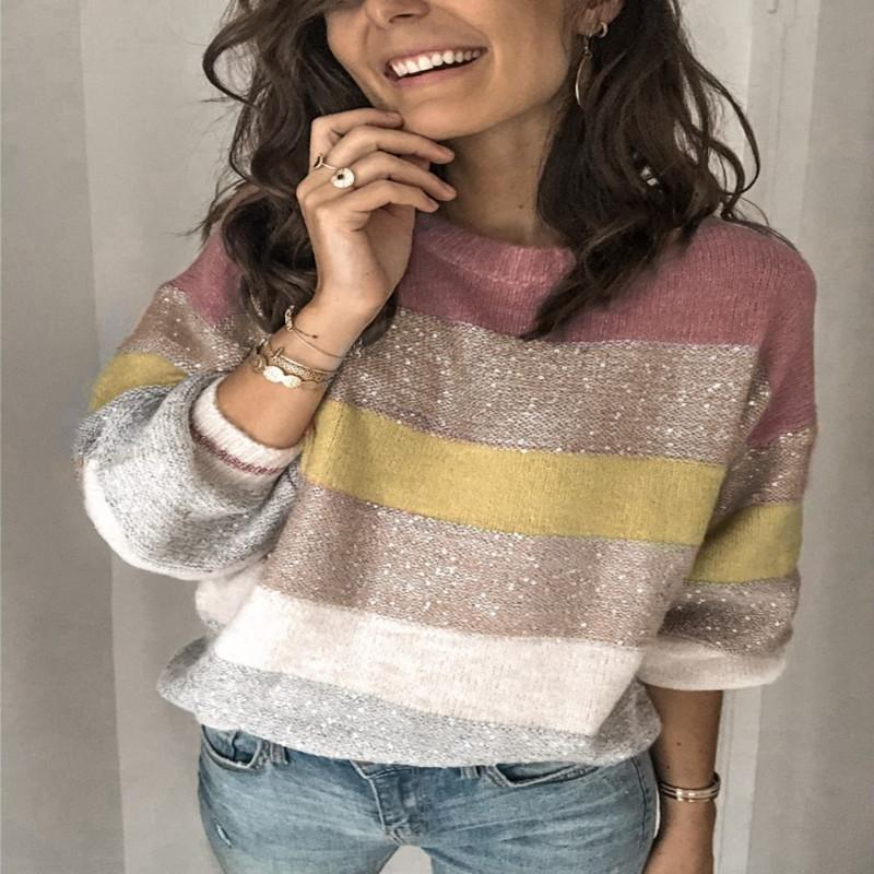 Women's Sweaters Europe And The United States 2021 Autumn Casual Loose Collar Sweater Multi Color Splicing Sweater-38