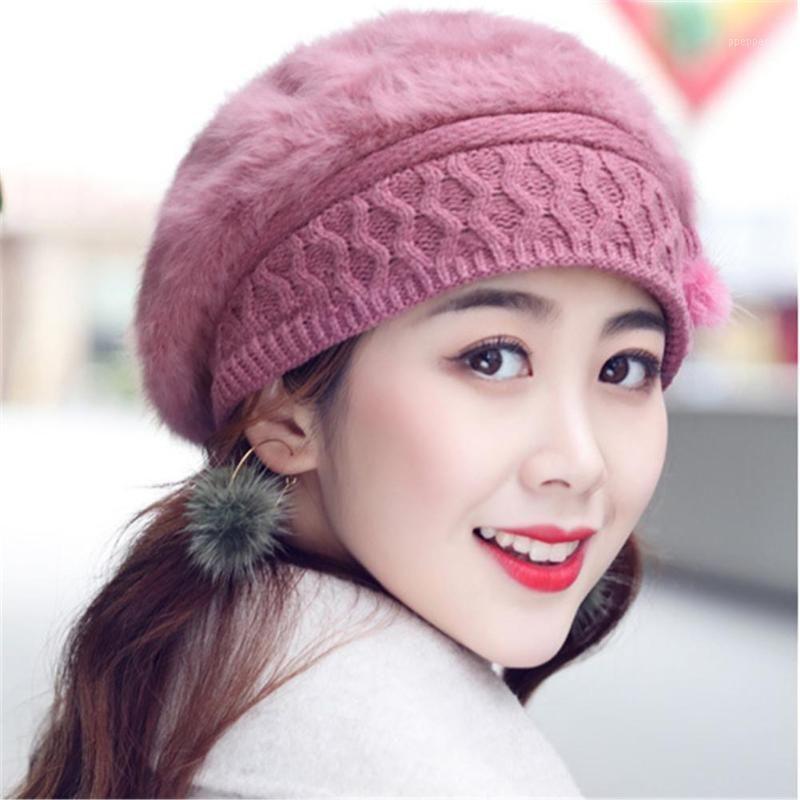 El cuidado del oído del cabello de las mujeres se cepilló el sombrero de punto cálido Sombrero de invierno boina de invierno gorros cálidos vellón dentro de la moda sombreros de punto para las damas1