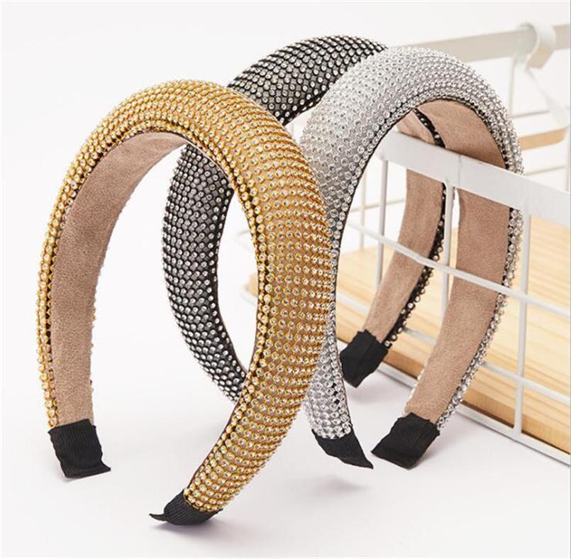 Bandas Estilos Corea del pelo de la venda de las mujeres señoras de la manera brillante acolchado diamante Las vendas del partido del aro del pelo accesorios de la joyería regalos LY11055