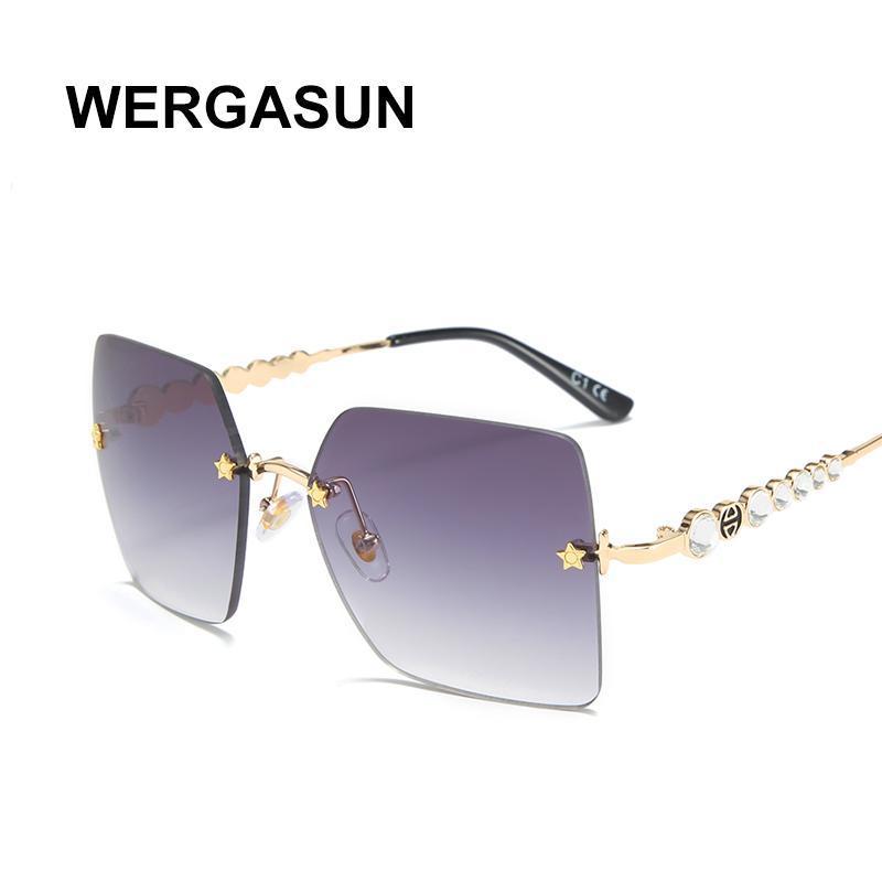 Mirror New 2020 Oversized WERGASUN Gradient Square Frameless Women Glasses Female Men Vintage Sun UV400 Shades Sunglasses Pkshw
