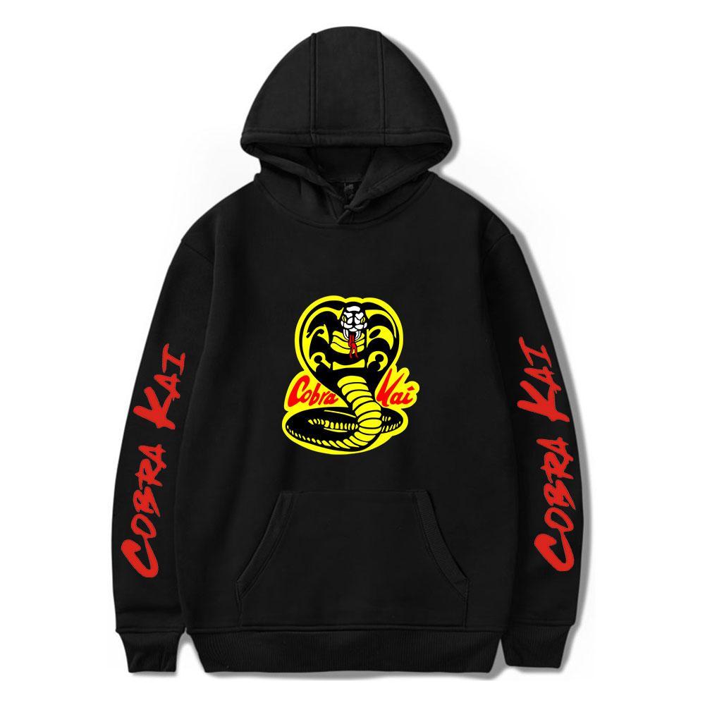 Siyah Hoodie COBRA KAI Kapüşonlular Erkekler Kadınlar Tişörtü Harajuku Hip Hop Kapşonlu COBRA KAI erkek kız Casual Popüler C0929 Kazak