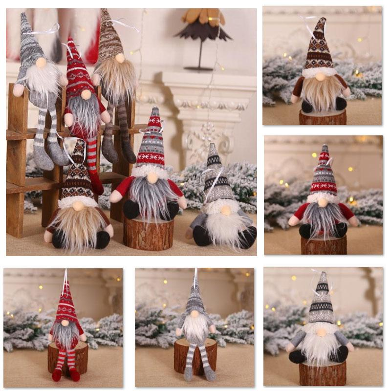 Christmas Ornament Knitted Plush Gnome Doll Christmas Tree Wall Hanging Pendant Holiday Decor Gift Tree Decorations BEE2774