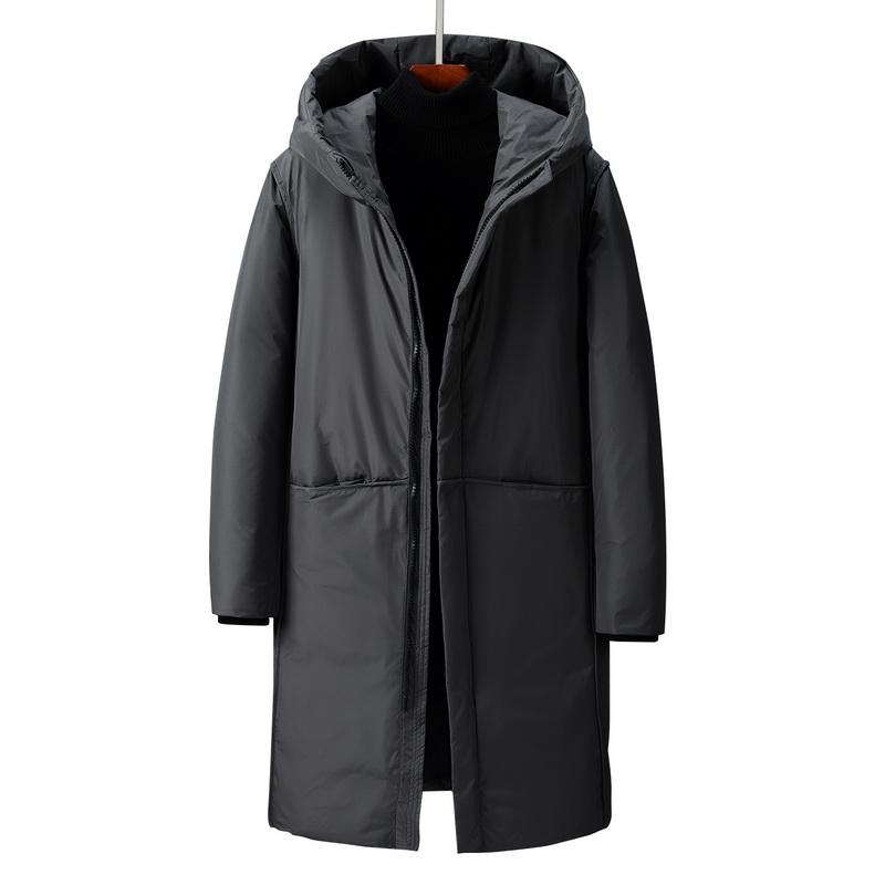 Men Down Jacket Black And Grey Puffer Coat SoftSell Winter Coat Men Winter Hooded Down Long Outfit Casual Clothes Outdoor Thick Warm Fashion